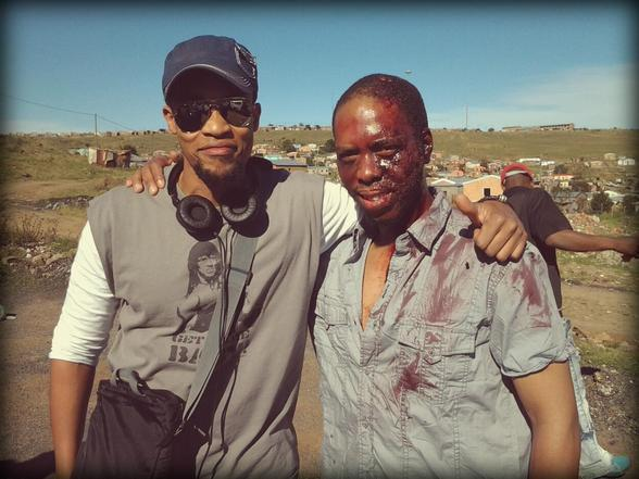 Jahmil XT Qubeka and Mothusi Magano as Parker on location